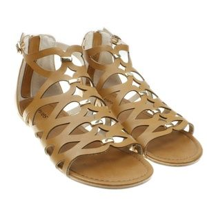 Stevies Girls Brown Gladiator Back Zip Sandals